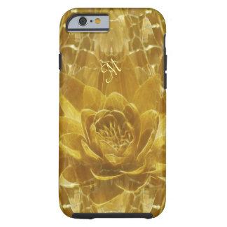 Inicial de la flor de loto del oro funda resistente iPhone 6