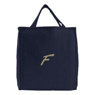 Inicial de la letra F del monograma del bordado Bolsas Bordadas