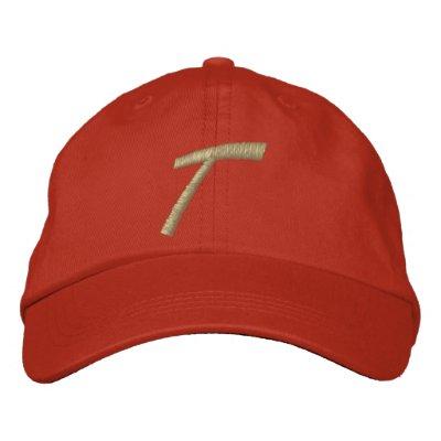 Inicial de la letra T del monograma del bordado Gorra Bordada