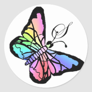 Inicial de la mariposa de la primavera de S~My Etiqueta Redonda