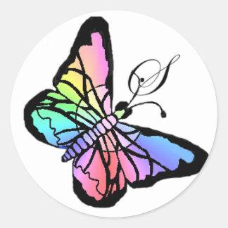 Inicial de la mariposa de la primavera de S~My Pegatina Redonda