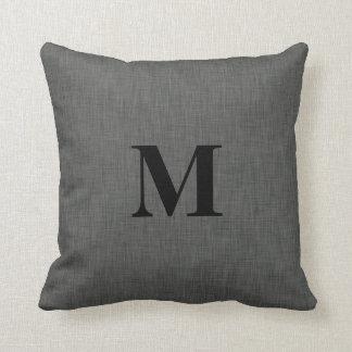 Inicial de lino gris del monograma de la textura almohada