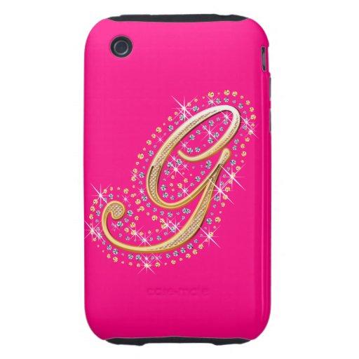 Inicial de oro G - caso lindo del iPhone iPhone 3 Tough Funda