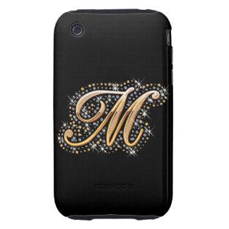 """Inicial de oro """"M"""" con los diamantes - caso del Tough iPhone 3 Cárcasa"""