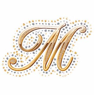 """Inicial de oro """"M"""" con los diamantes - imán Fotoescultura Vertical"""
