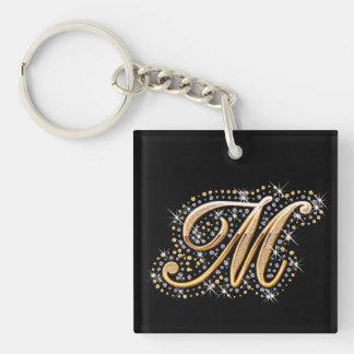 """Inicial de oro """"M"""" con los diamantes - llavero"""