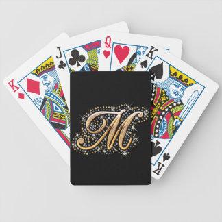 """Inicial de oro """"M"""" con los diamantes - naipes Cartas De Juego"""