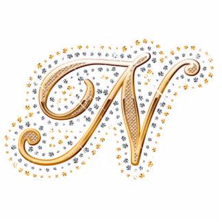 """Inicial de oro """"N"""" con los diamantes - imán Escultura Fotografica"""