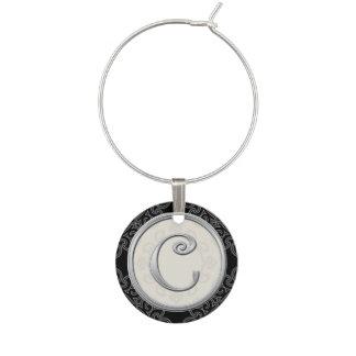 Inicial de plata elegante C del monograma Identificadores De Copas