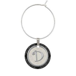 Inicial de plata elegante D del monograma Identificadores De Copas
