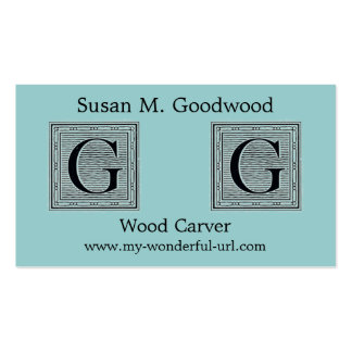 Inicial de Woodblock del grabar en madera de la le Tarjetas Personales