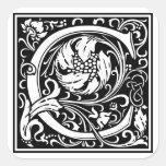 """Inicial decorativa """"C"""" de la letra Calcomania Cuadrada Personalizada"""