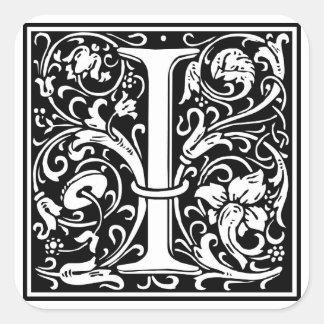 """Inicial decorativa de la letra """"yo"""" pegatina cuadrada"""
