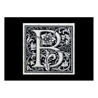 Inicial decorativa de Woodblock del grabar en made Plantilla De Tarjeta De Negocio