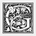 """Inicial decorativa """"G"""" de la letra Pegatinas Cuadradas Personalizadas"""