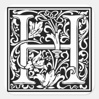"Inicial decorativa ""H"" de la letra Pegatina Cuadrada"