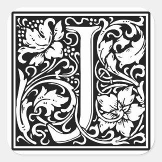 """Inicial decorativa """"J"""" de la letra Pegatina Cuadrada"""