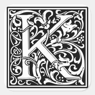 "Inicial decorativa ""K"" de la letra Pegatina Cuadrada"