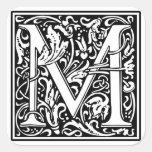 """Inicial decorativa """"M"""" de la letra Calcomanía Cuadrada"""