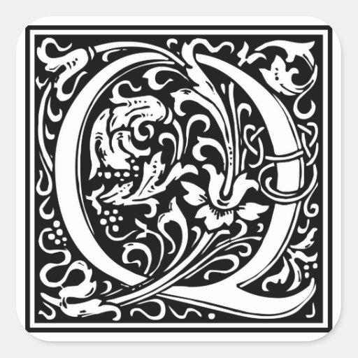 """Inicial decorativa """"Q"""" de la letra Pegatina Cuadrada"""