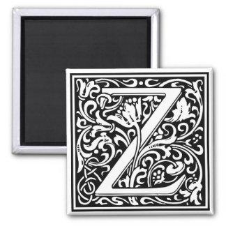"""Inicial decorativa """"Z"""" de la letra Imán Cuadrado"""