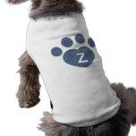 Inicial del corazón de Pawprint Camisetas De Mascota