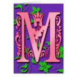 Inicial del monograma de la letra M en tarjetas pú