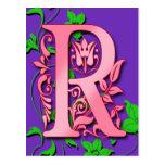 Inicial del monograma de la letra R en tarjetas pú Postales