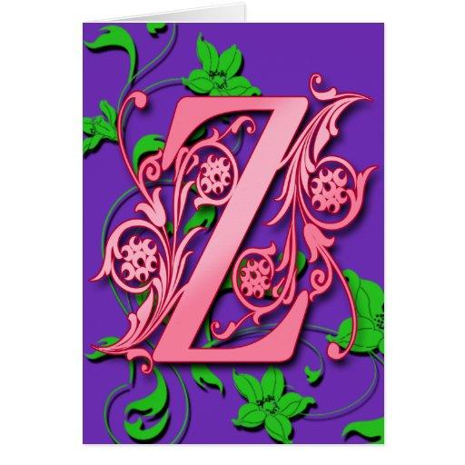 Inicial del monograma de la letra Z en tarjetas pú