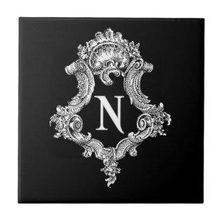Inicial del monograma de N Azulejo Cuadrado Pequeño