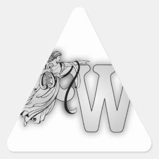 Inicial del monograma del ángel de la letra W Pegatina Triangular