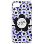 Inicial floral retra azul del personalizado del iPhone 5 Case-Mate fundas