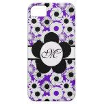 Inicial floral retra púrpura del personalizado del iPhone 5 cobertura