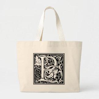 Inicial grande del vintage medieval del monograma bolsa tela grande
