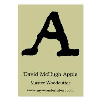 Inicial indicada con letras del estilo de la letra tarjetas personales