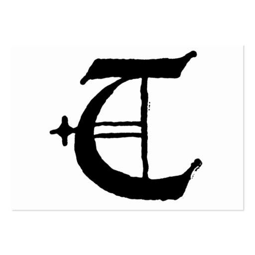 """Inicial inglesa clásica gótica de la letra """"T"""" Tarjetas De Visita ..."""