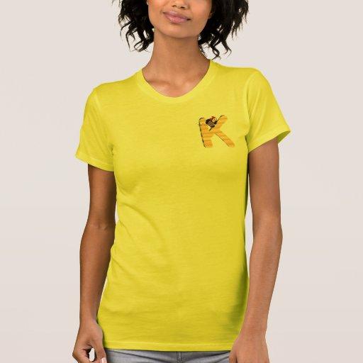 Inicial K de la abeja de Hunny Camisetas