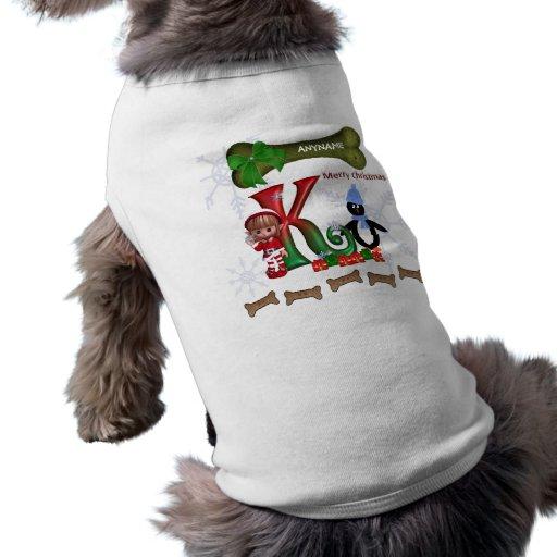 Inicial K del suéter del navidad del perro Playera Sin Mangas Para Perro