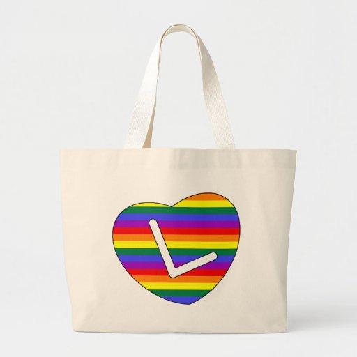 Inicial L del corazón del orgullo del arco iris Bolsa De Mano