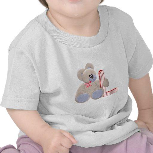 Inicial L del oso de peluche Camisetas
