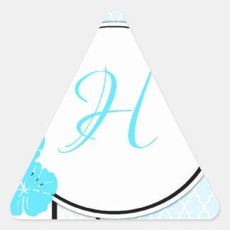 Inicial marroquí azul, blanca y negra del hibisco pegatina triangular