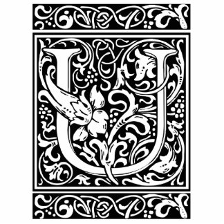 Inicial medieval del vintage del monograma de la fotoescultura vertical