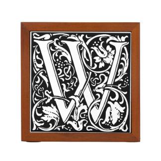 Inicial medieval del vintage del monograma de la organizador de escritorio