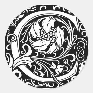 Inicial medieval del vintage del monograma de la pegatina redonda