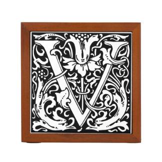 Inicial medieval del vintage del monograma de la portalápices