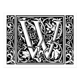 Inicial medieval del vintage del monograma de la postales