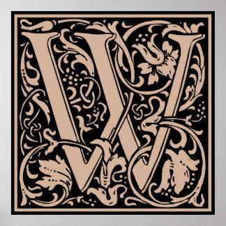 Inicial medieval del vintage del monograma de la póster
