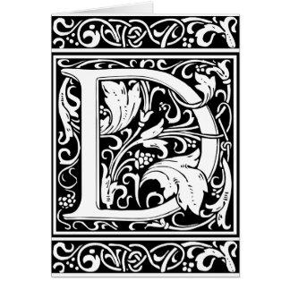 Inicial medieval del vintage del monograma de la tarjeta de felicitación
