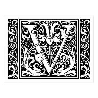Inicial medieval del vintage del monograma de la tarjetas postales