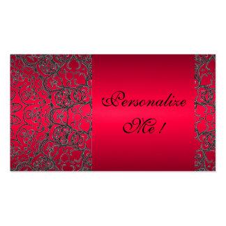 Inicial moderna negra roja de moda elegante tarjetas de visita